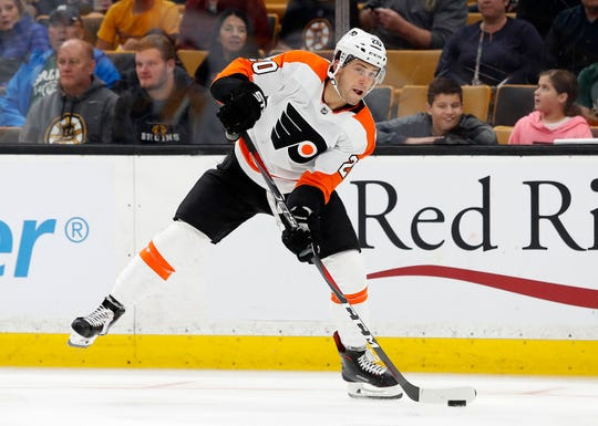 Forward Taylor Leier, shown playing for the Philadelphia Flyers, was traded to Buffalo on Thursday in exchange for Amerks' forward Justin Bailey. Leier scored 10 goals in 34 games for the Lehigh Valley Phantoms of the AHL this season.