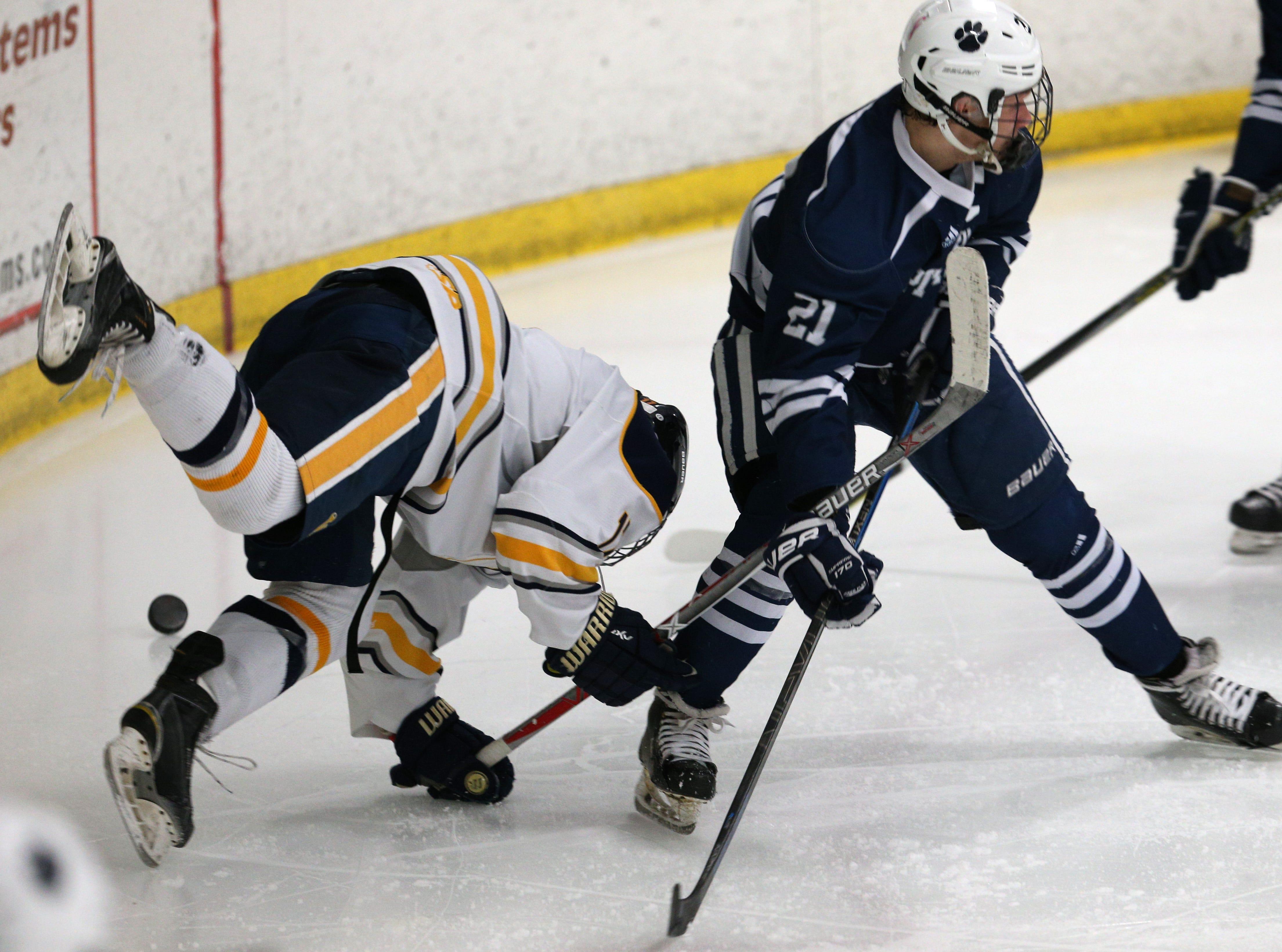 Victor  #17 Roman Czornobil hit the ice against Pittsford.