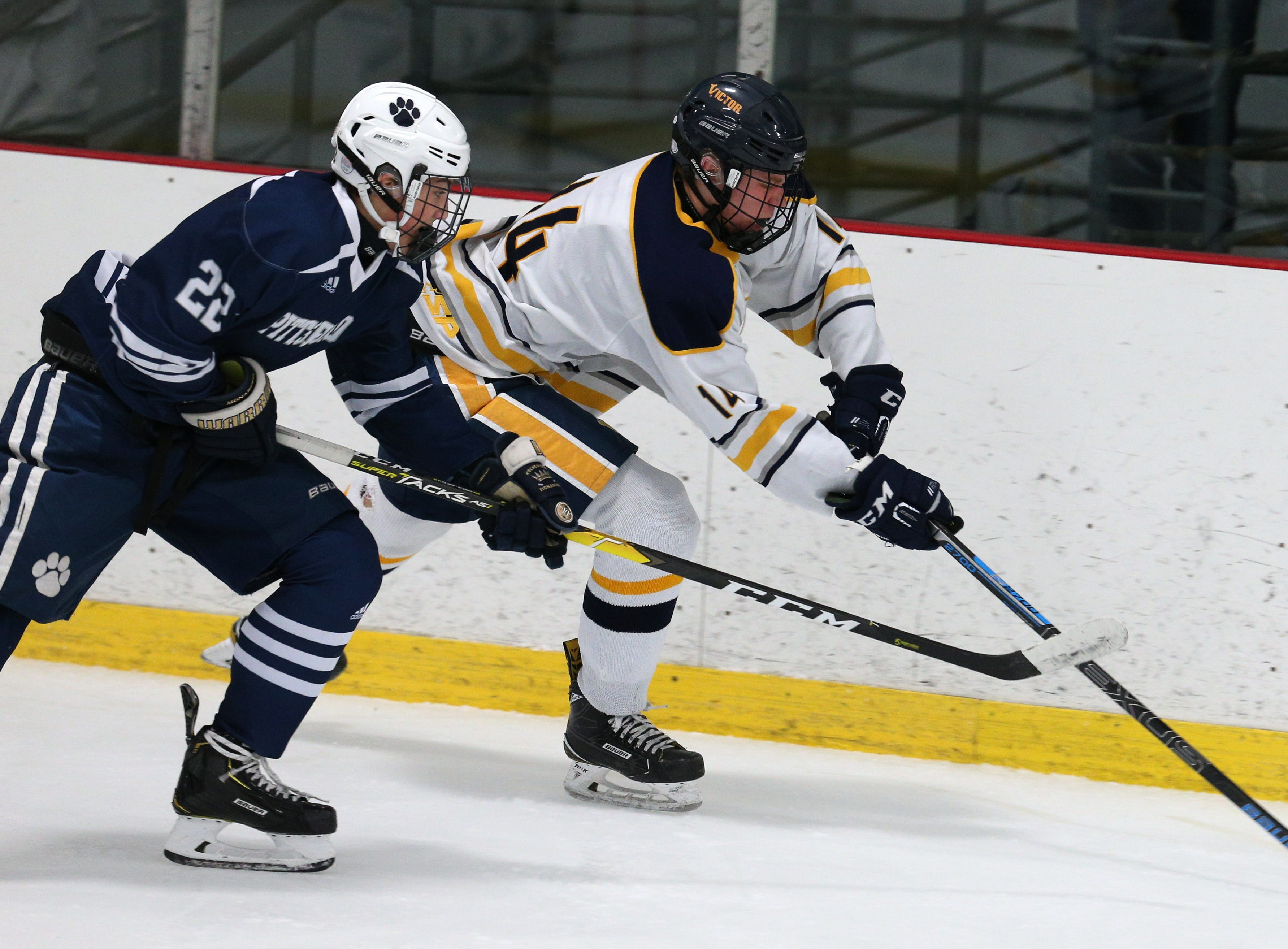 Victor #14 Peter Rydzynski against Pittsford #22 Will Masaschi.