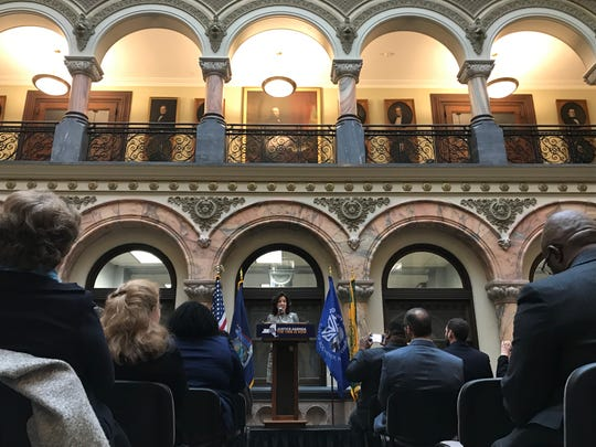 Lt. Gov. Kathy Hochul visited Rochester on Friday, speaking at City Hall about Gov. Andrew Cuomo's State of the State and budget address delivered earlier in the week, and specific initiatives in the Finger Lakes.