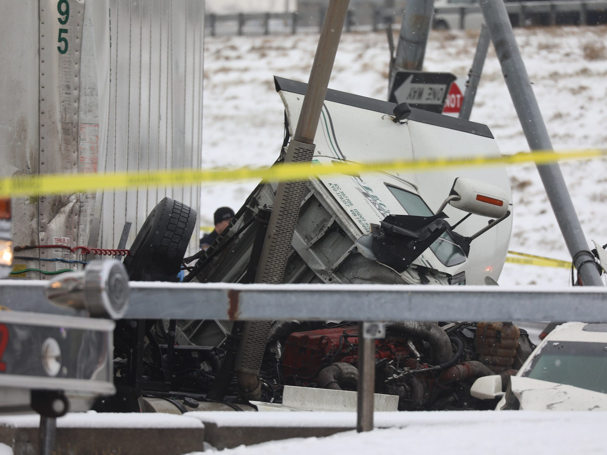 The cab of the truck came off and lies next to the body of the truck.