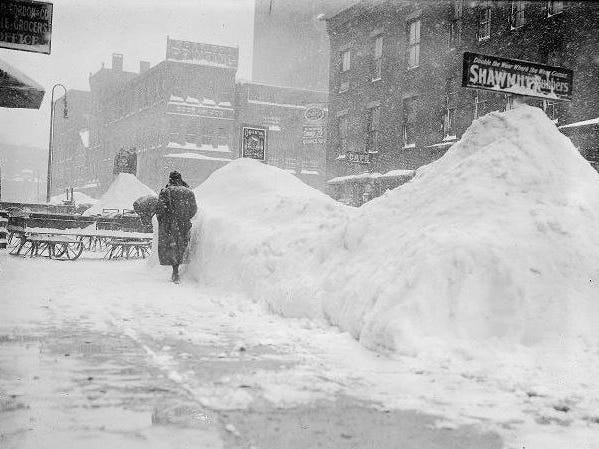1. Snowfall totaled 43.5 inches from Feb. 28 to March 2, 1900. Here, snowdrifts on North Water Street