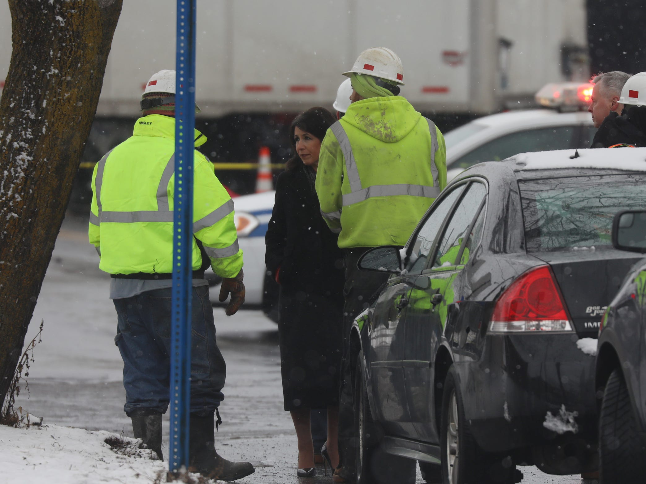 Monroe County Executive Cheryl Dinolfo came to the site of the crash and talked with workers on scene.