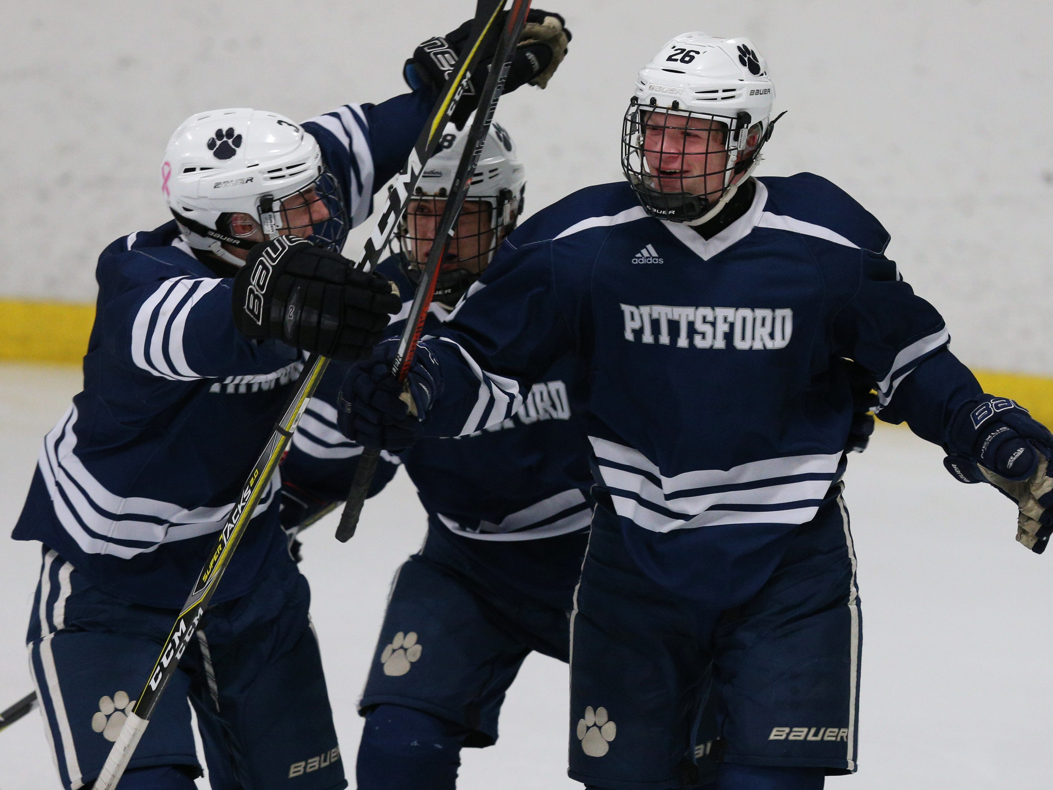 Pittsford #26 Ronin VanDamme celebrates his goal on Victor.