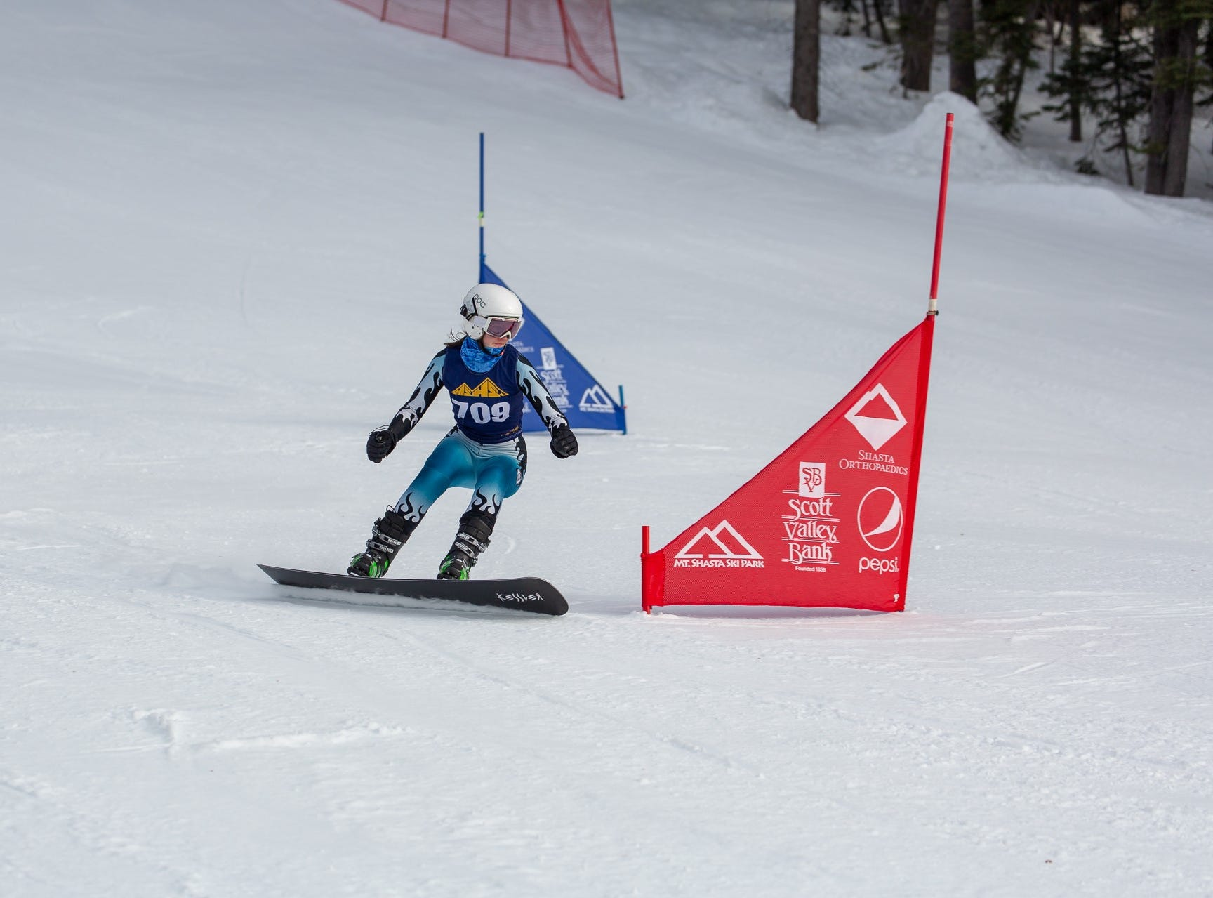 Tate Harkness of Mt. Shasta competes in the first high school snowboard meet of 2019 on Monday, Jan. 14 at Mt. Shasta Ski Park.