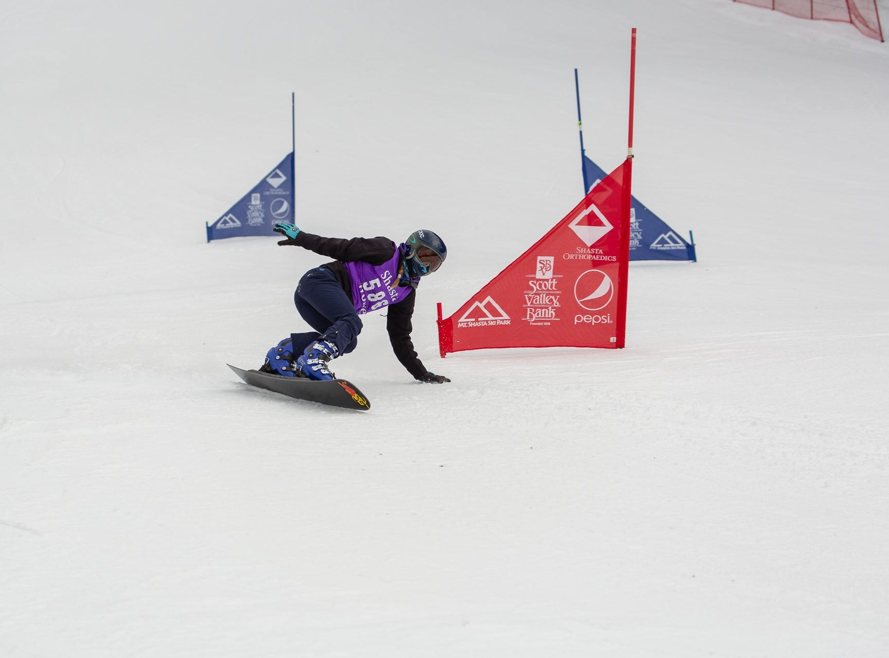 Sage Will of Shasta competes in the first high school snowboard meet of 2019 on Monday, Jan. 14 at Mt. Shasta Ski Park.