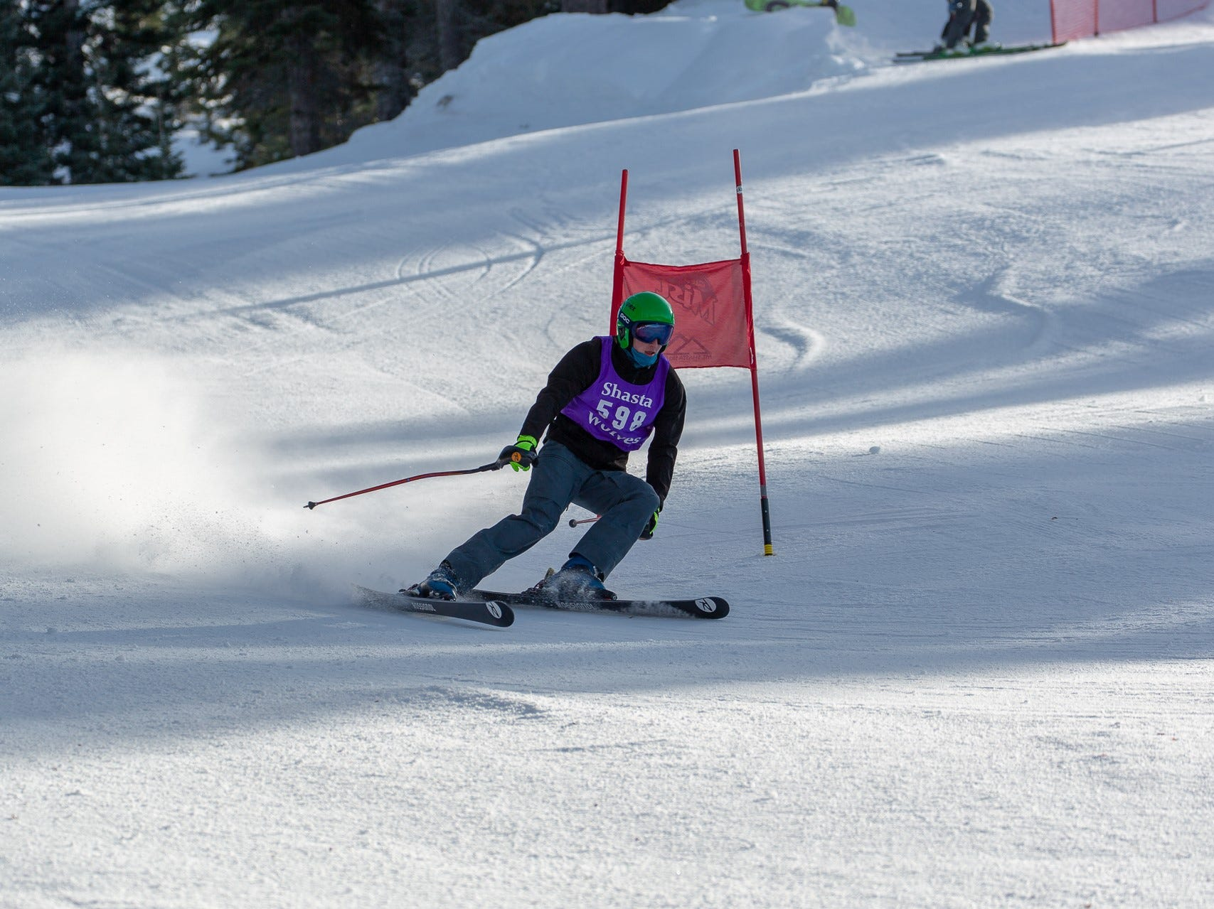 Nick Lindsay of Shasta competes in the first high school ski meet of 2019 on Monday, Jan. 14 at Mt. Shasta Ski Park.