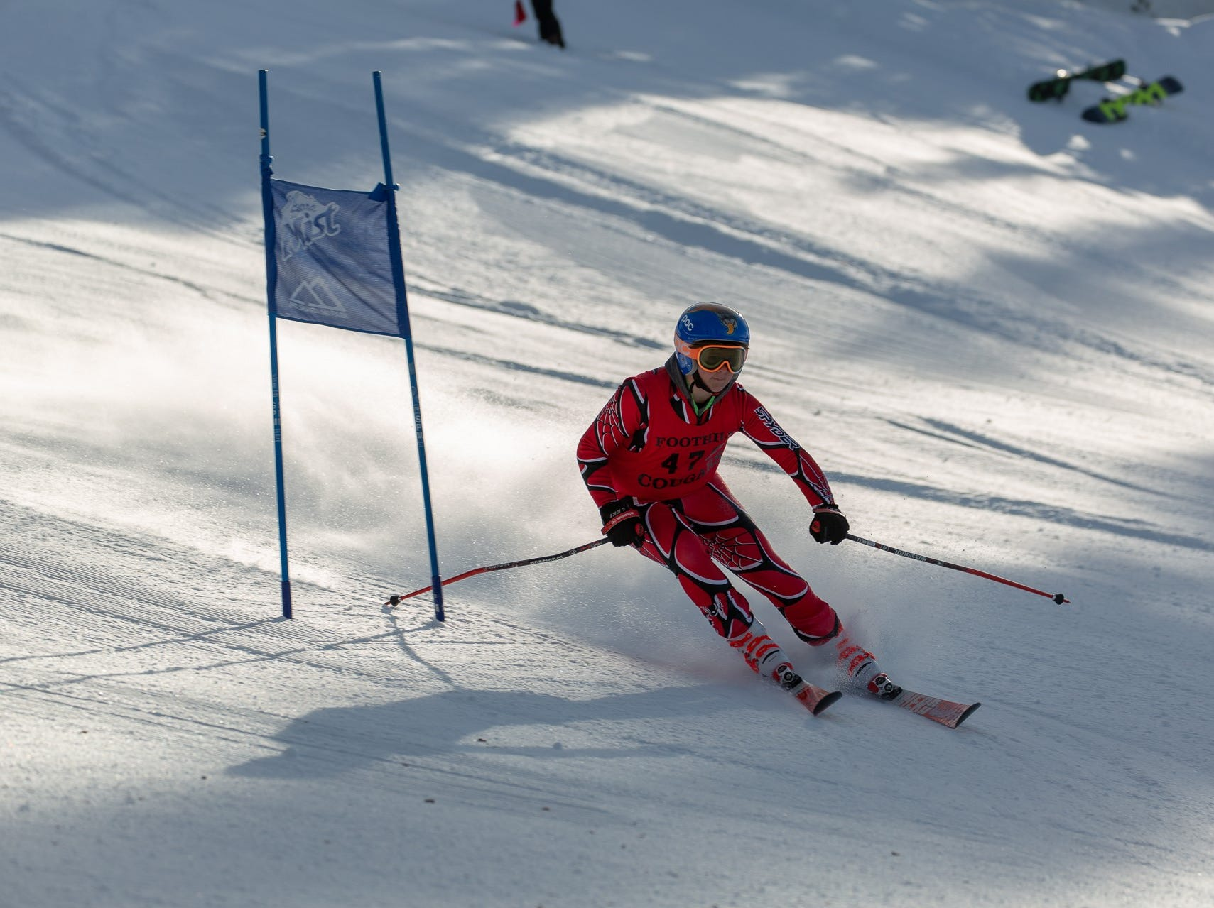 Matthew Ferrari of Foothill competes in the first high school ski meet of 2019 on Monday, Jan. 14 at Mt. Shasta Ski Park.