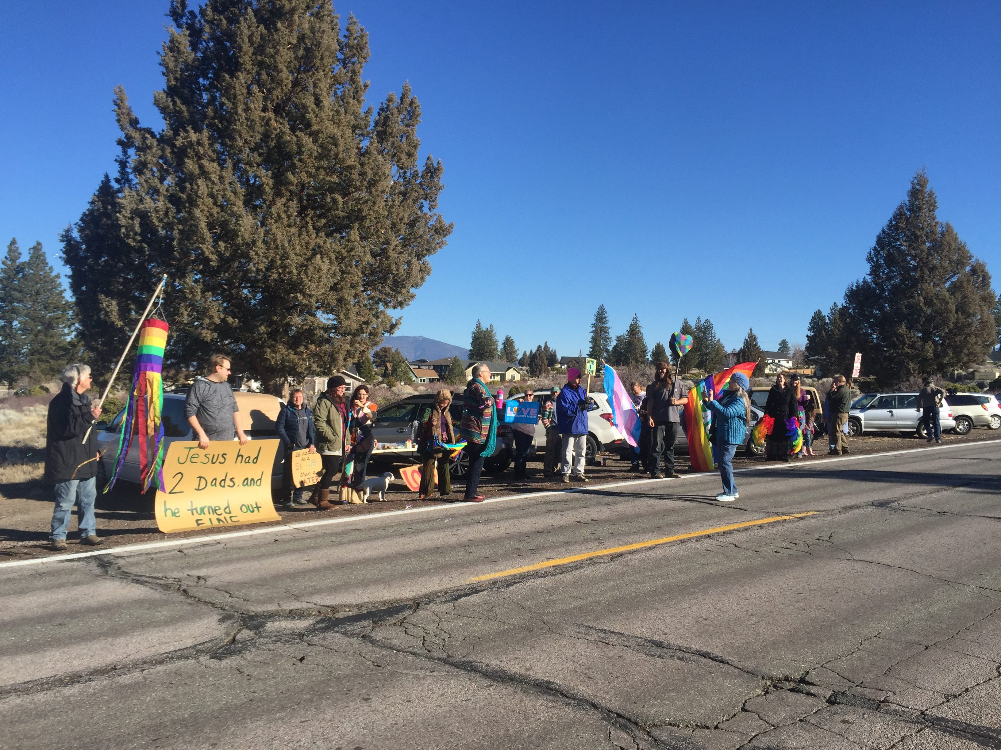 "The Shastina Love Rally met on Jan. 6 and 13 to protest a sign in front of the Trinity Bible Presbyterian Church in Weed that said,  ""Bruce Jenner is still a man. Homosexuality is still sin. The culture may change. The Bible does not."""