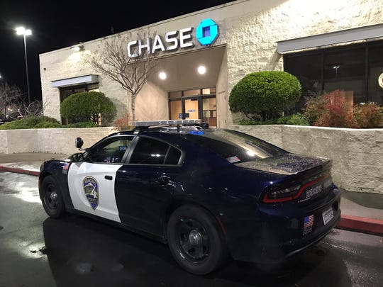 Redding police were at Chase Bank off Dana Drive on Thursday night, Jan. 17, 2019 investigating a robbery.