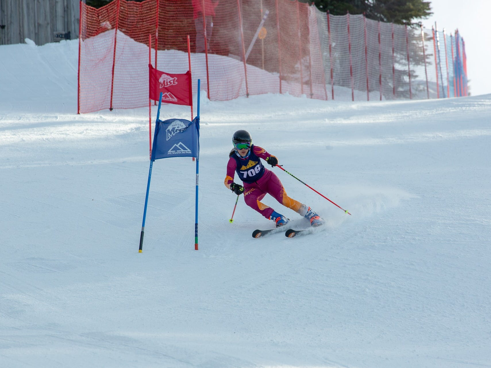 Zoe Malee of Mt. Shasta competes in the first high school ski meet of 2019 on Monday, Jan. 14 at Mt. Shasta Ski Park.
