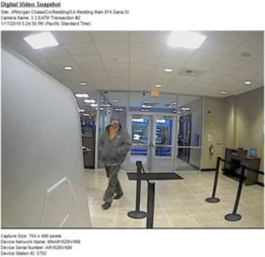 This is another photo of the man who police say robbed Chase Bank on Dana Drive in Redding.
