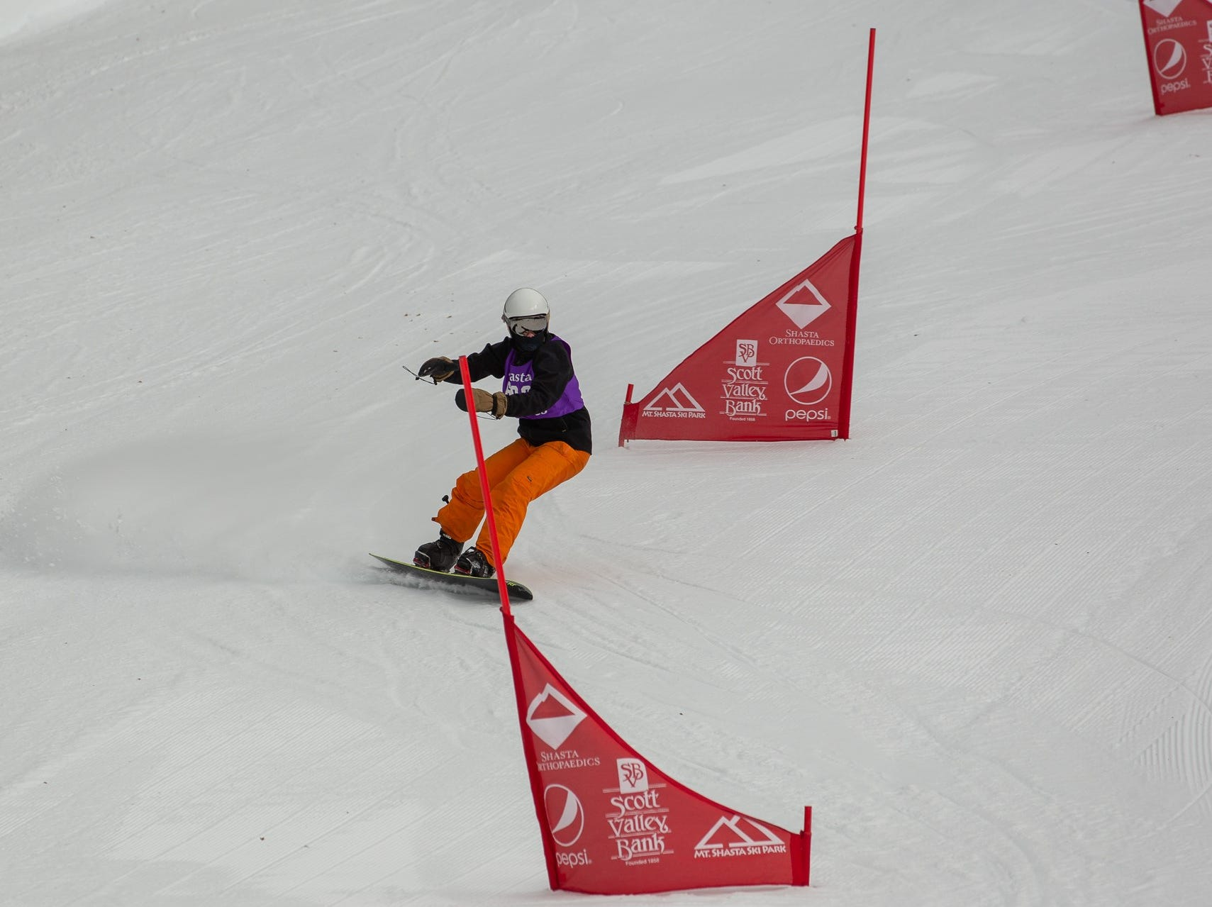 Gabe Viggers of Shasta competes in the first high school snowboard meet of 2019 on Monday, Jan. 14 at Mt. Shasta Ski Park.