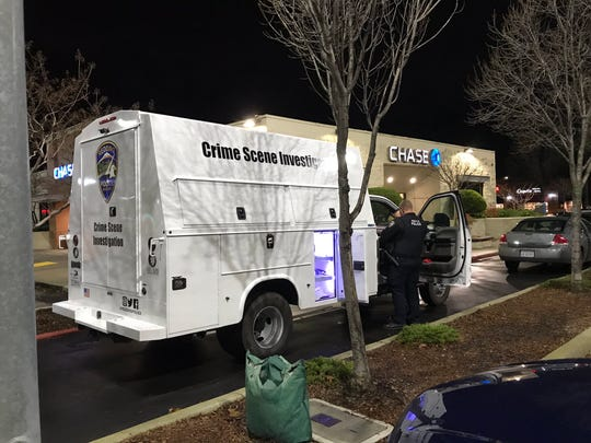 A Redding Police Department crime scene investigation unit was parked on Thursday, Jan. 17, 2019 at Chase Bank off Dana Drive following a robbery report.