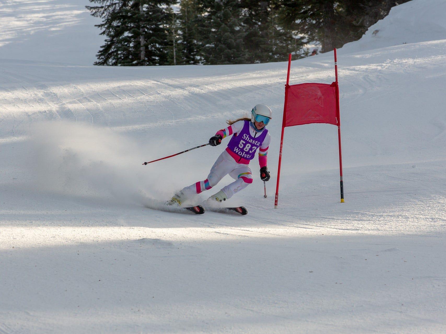 Jenna Randolph of Shasta competes in the first high school ski meet of 2019 on Monday, Jan. 14 at Mt. Shasta Ski Park.