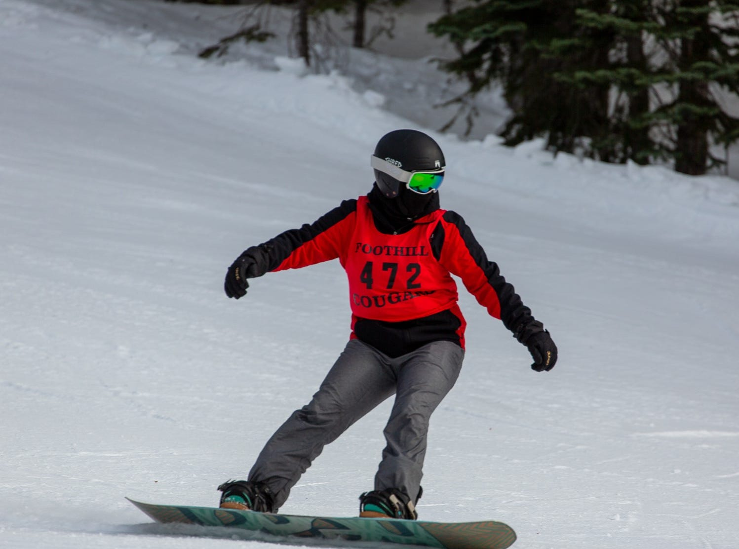 Mattie McKee of Foothill competes in the first high school snowboard meet of 2019 on Monday, Jan. 14 at Mt. Shasta Ski Park.