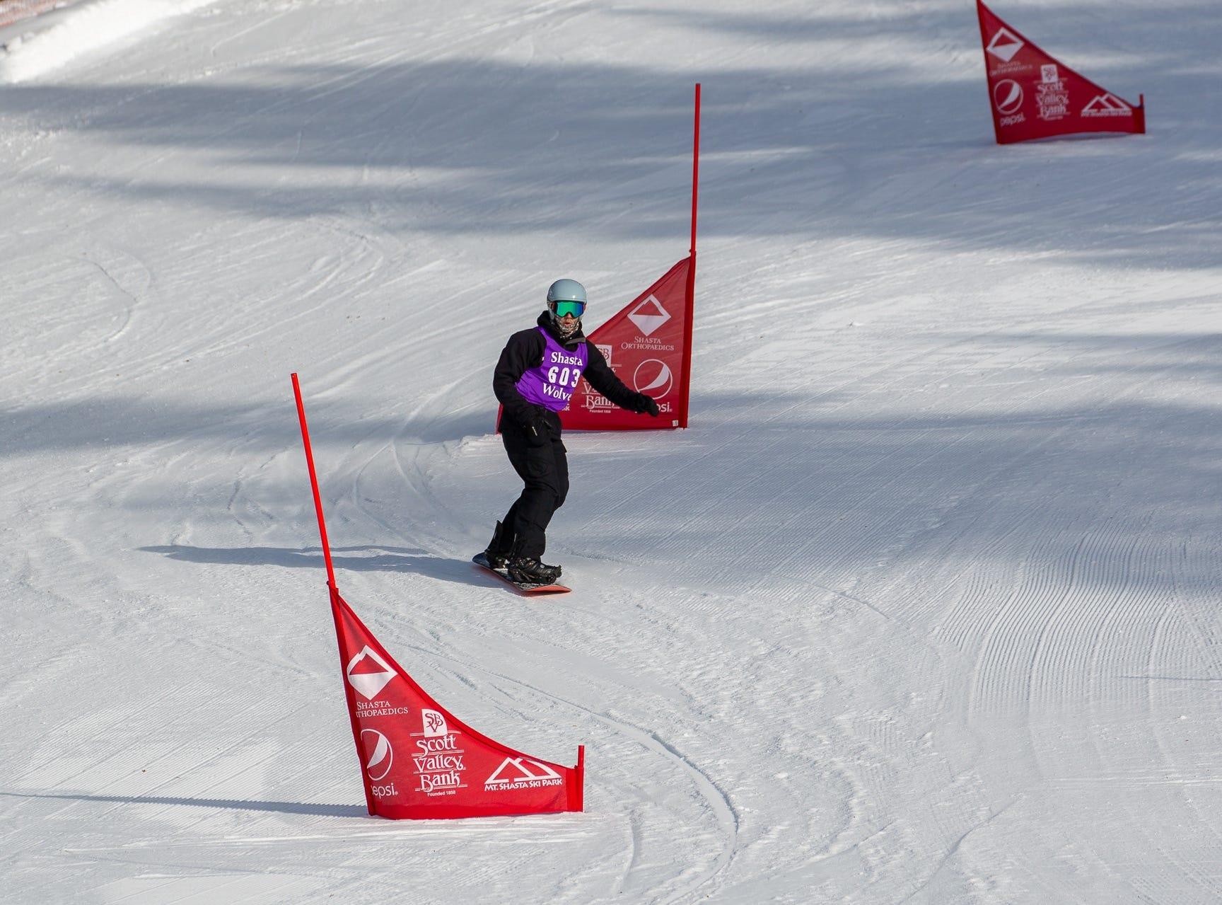 Gabe Rubanowitz of Shasta competes in the first high school snowboard meet of 2019 on Monday, Jan. 14 at Mt. Shasta Ski Park.