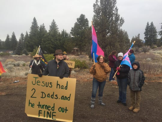 """The Shastina Love Rally met on Jan. 6 and 13 to protest a sign in front of the Trinity Bible Presbyterian Church in Weed that said,  """"Bruce Jenner is still a man. Homosexuality is still sin. The culture may change. The Bible does not."""""""