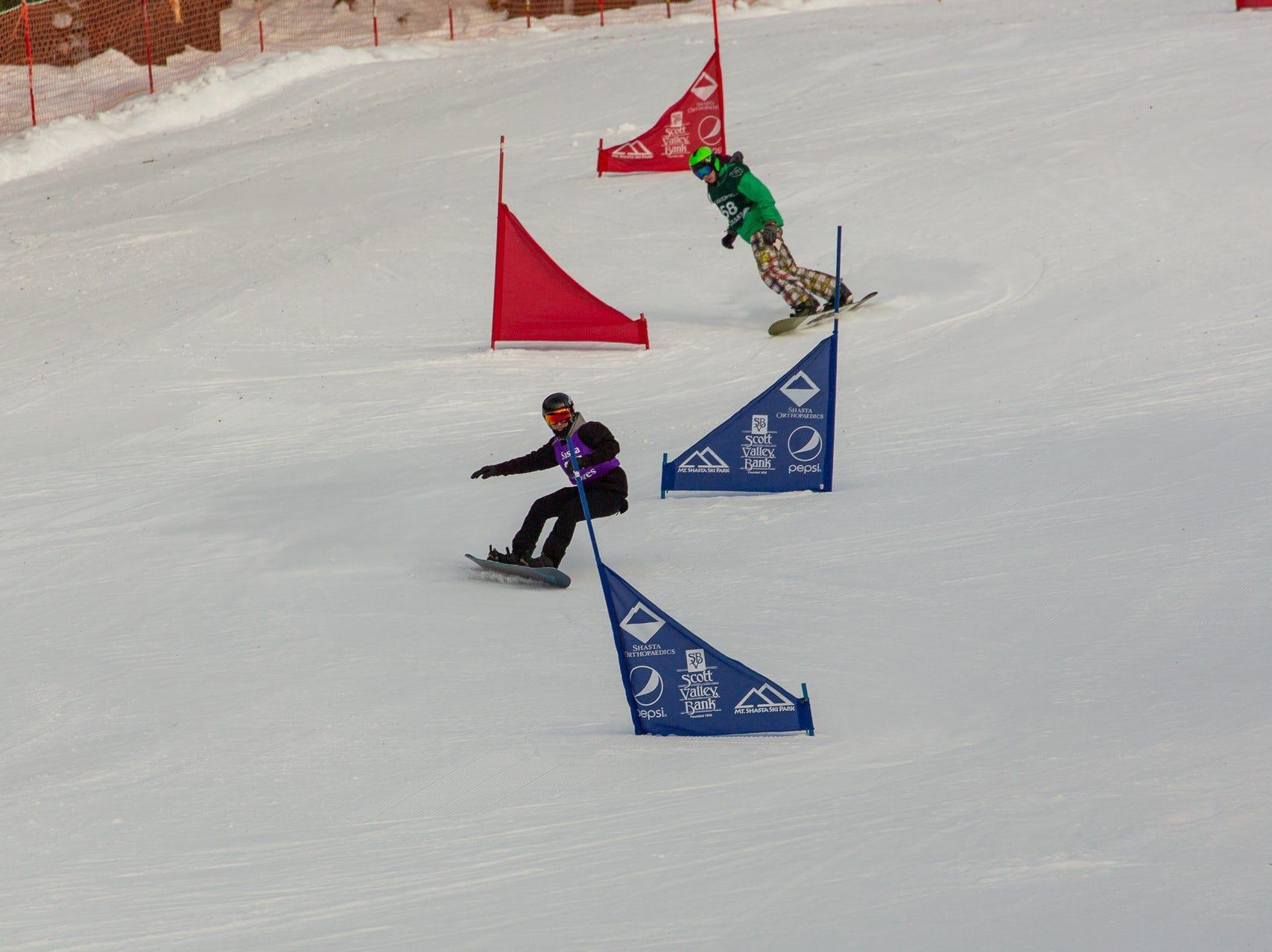 Joseph Vericker of Shasta competes in the first high school snowboard meet of 2019 on Monday, Jan. 14 at Mt. Shasta Ski Park.