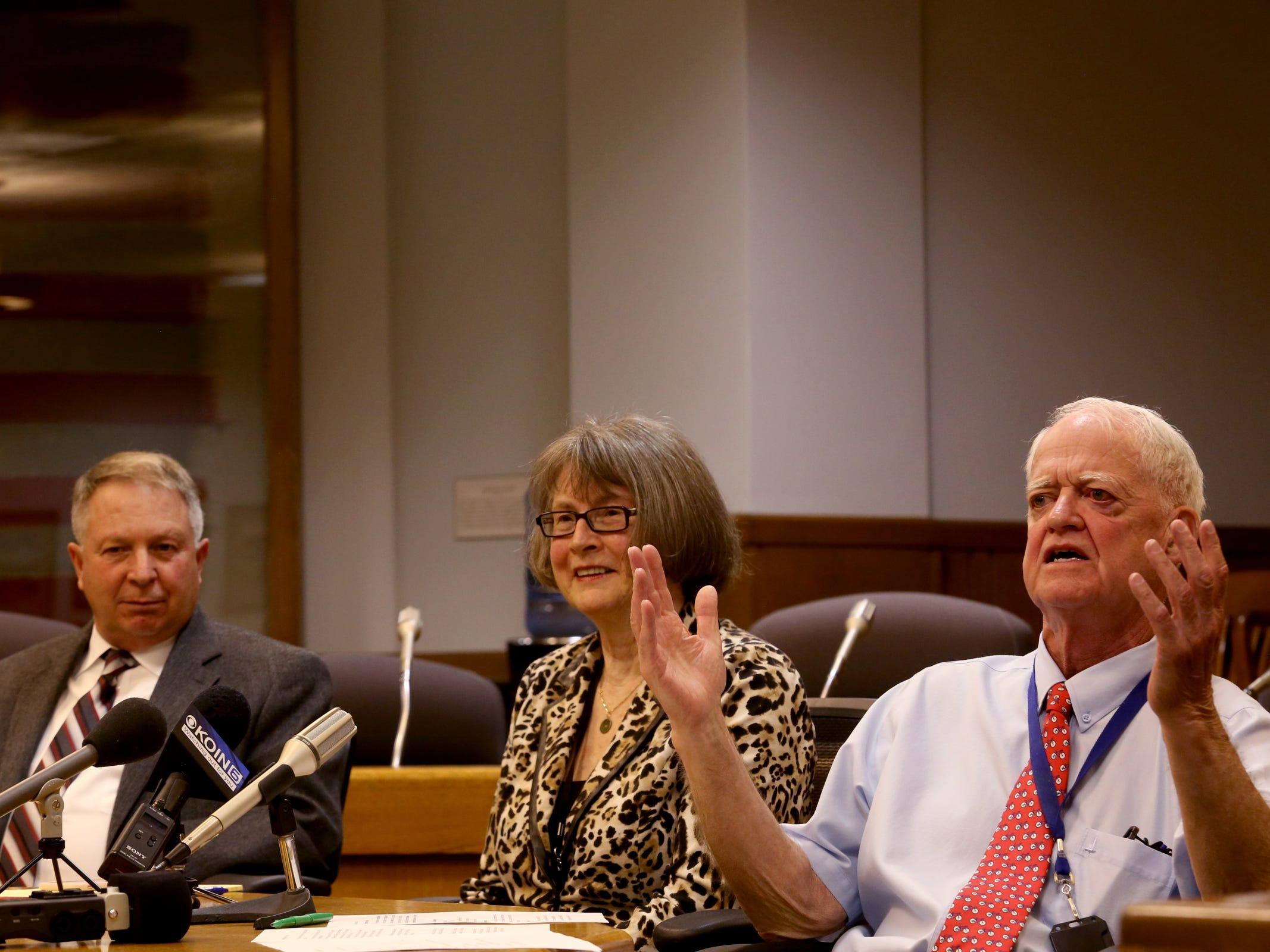 Sen. Herman Baertschiger Jr., R-Grants Pass, from left, Sen. Ginny Burdick, D-Portland, and Senate President Peter Courtney speak during the AP Legislative Preview Day at the Oregon State Capitol in Salem on Friday, Jan. 18, 2019. The 2019 Oregon legislative session begins January 22.
