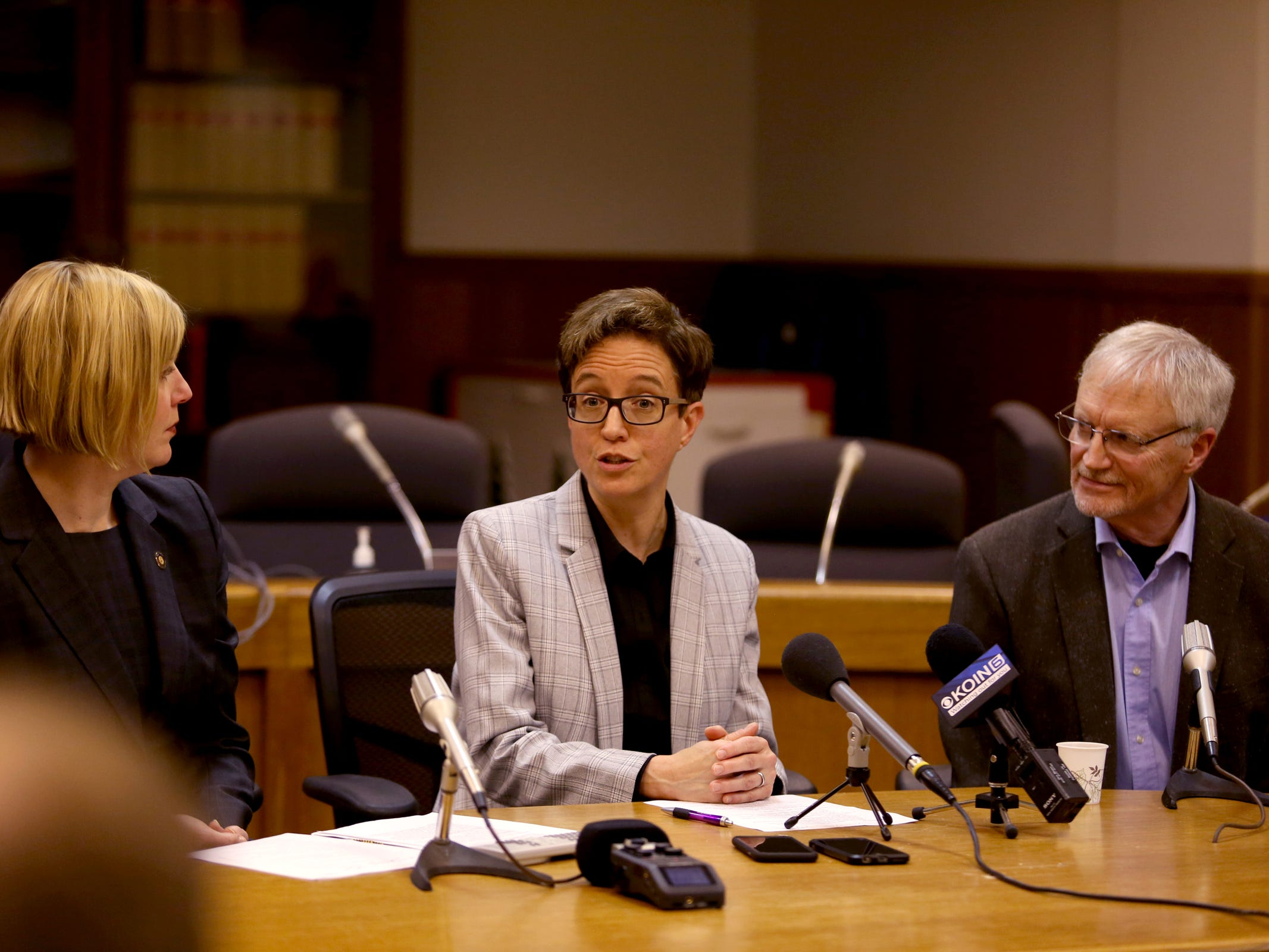Rep. Jennifer Williamson, D-Portland, from left, House Speaker Tina Kotek and Rep. Carl Wilson, R-Grants Pass, during the AP Legislative Preview Day at the Oregon State Capitol in Salem on Friday, Jan. 18, 2019. The 2019 Oregon legislative session begins January 22.