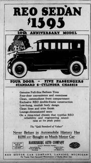 1924 newspaper ad for REO sedan.