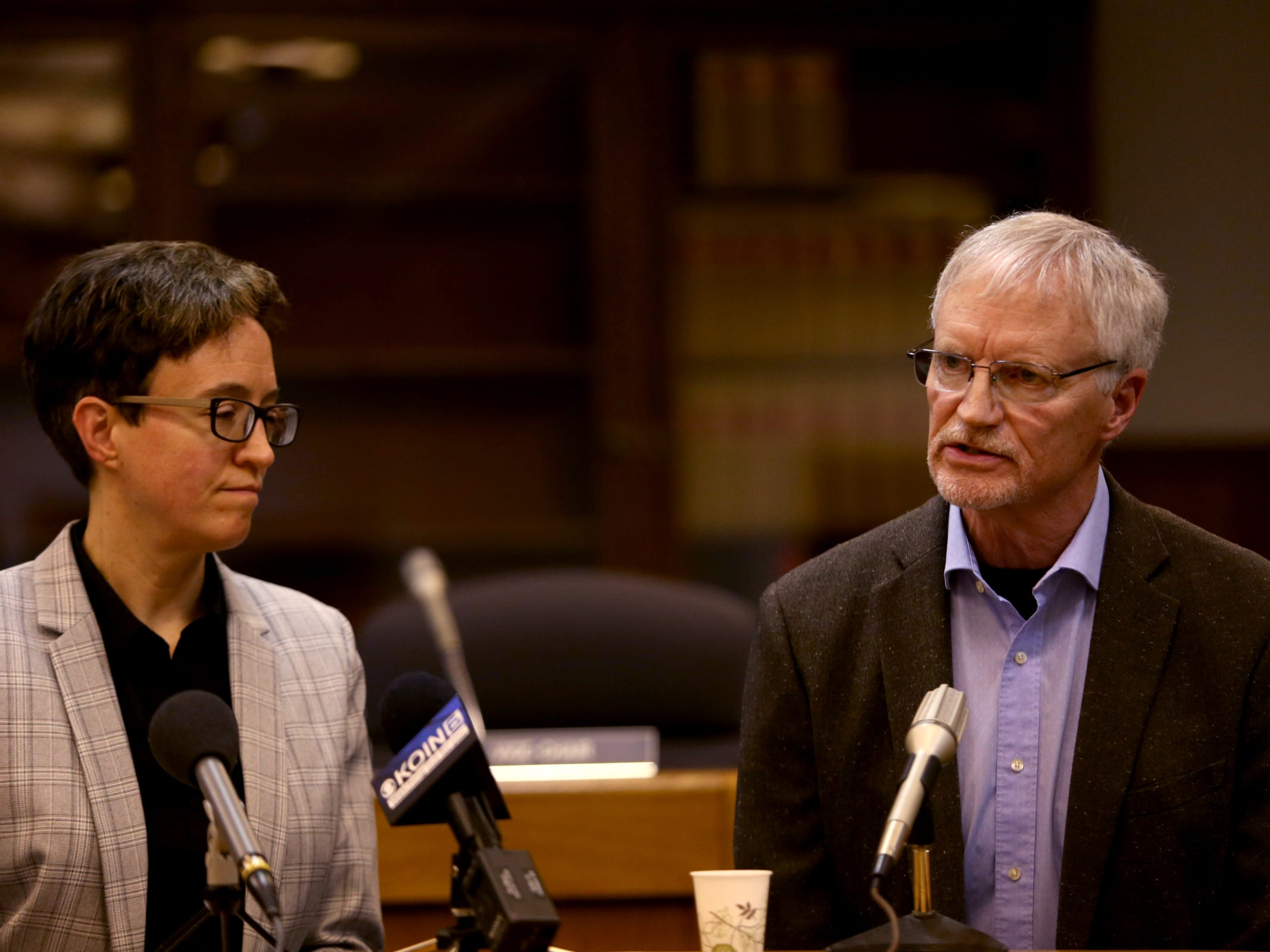 House Speaker Tina Kotek and Rep. Carl Wilson, R-Grants Pass, speak during the AP Legislative Preview Day at the Oregon State Capitol in Salem on Friday, Jan. 18, 2019. The 2019 Oregon legislative session begins January 22.