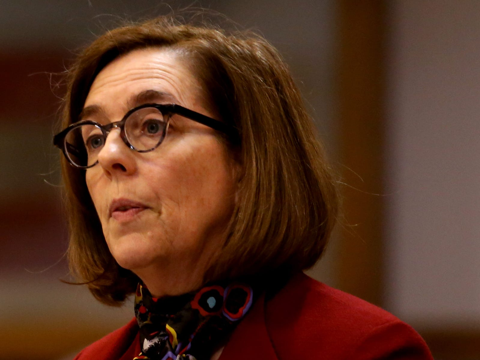 Gov. Kate Brown speaks during the AP Legislative Preview Day at the Oregon State Capitol in Salem on Friday, Jan. 18, 2019. The 2019 Oregon legislative session begins January 22.