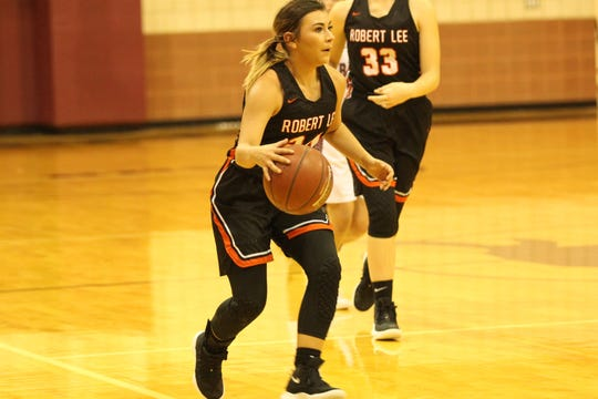 Robert Lee High School's Kaylee Puentez had 15 points to help the Lady Steers to a 64-63 win in three overtimes over Veribest on Tuesday, Jan. 22, 2019.