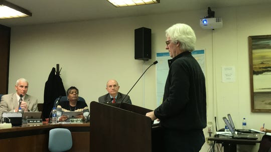 Dennis Nordstrom of SunTec Solar Solutions speaks to the Accomack County Board of Supervisors about a solar energy project proposed for a Tasley, Virginia farm at a meeting on Wednesday, Jan. 16, 2019 in Accomac, Virginia.