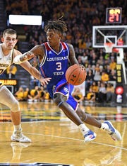 Louisiana Tech Bulldogs guard Amorie Archibald (3) drives with the ball against the Wichita State Shockers earlier this season.