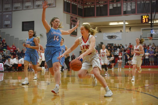 Lincoln's Danica Kocer goes against Brandon Valley defense during the game Thursday, Jan. 17, at Brandon Valley.