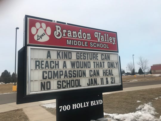 The kindness message was spread all around the Brandon Valley school district in January.
