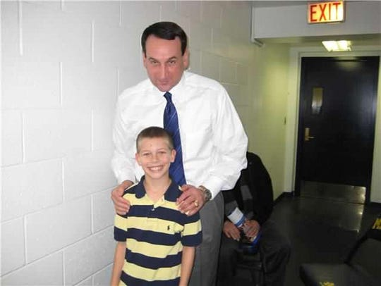 A young A.J. Plitzuweit got the opportunity to take a picture with Duke coach Mike Krzyzewski.