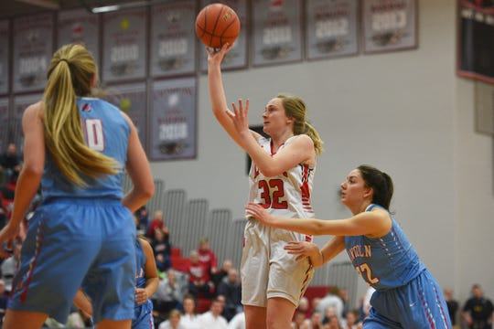 Brandon Valley's Danica Kocer goes against Lincoln defense during the game Thursday, Jan. 17, at Brandon Valley.