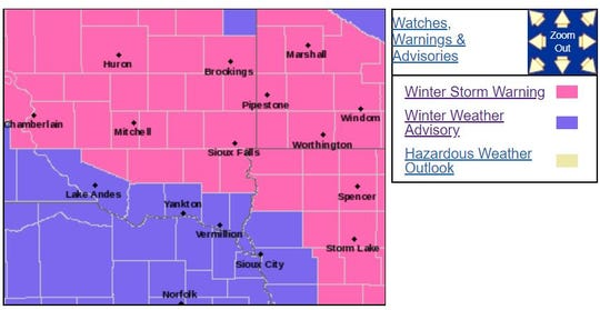 Winter storm warning map. Winter storm warning for areas in pink.