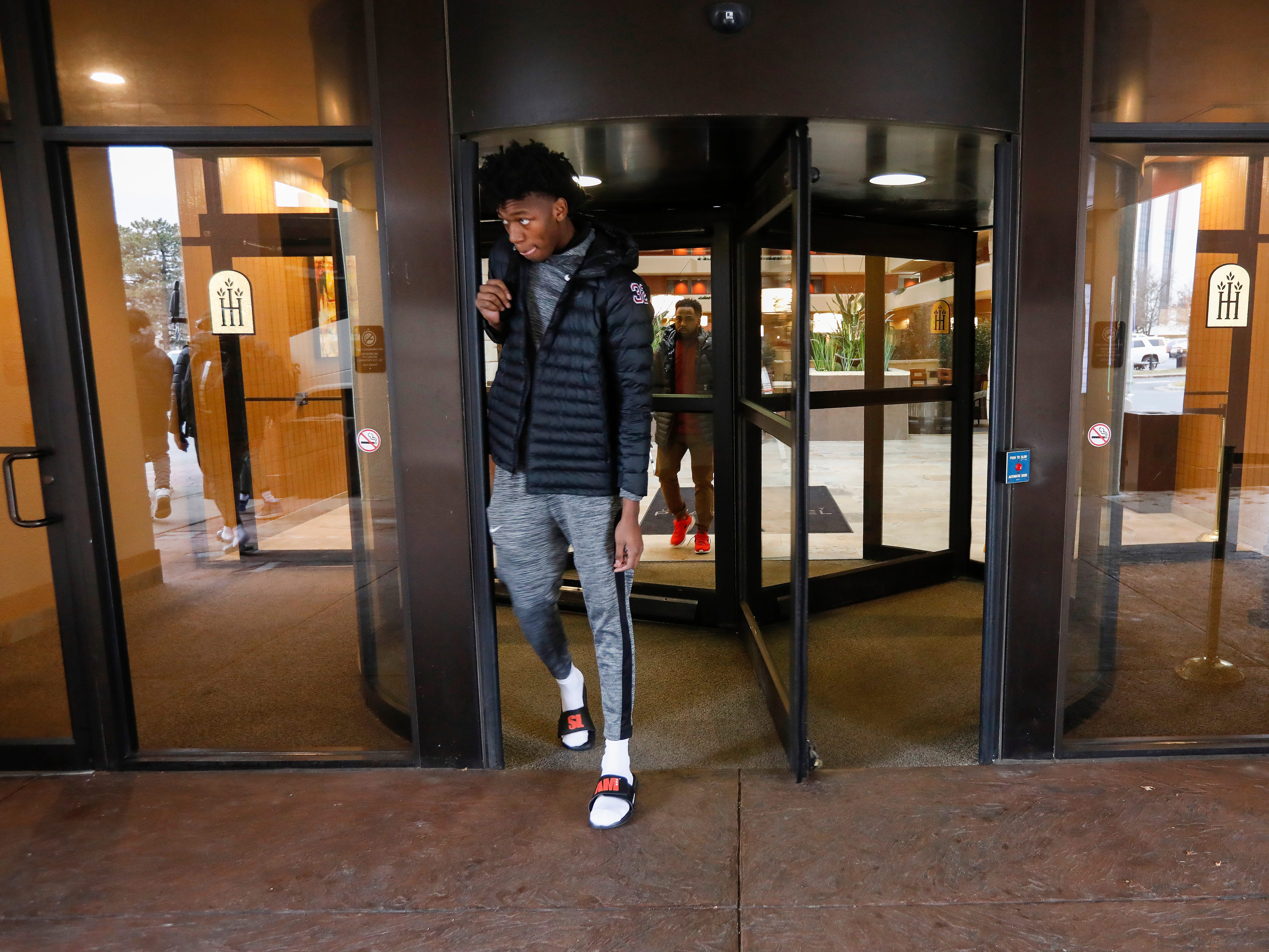 James Wiseman, of Memphis East High School, walks out of the University Plaza Hotel before his game in the Bass Pro Shops Tournament of Champions at JQH Arena on Thursday, Jan. 17, 2019.