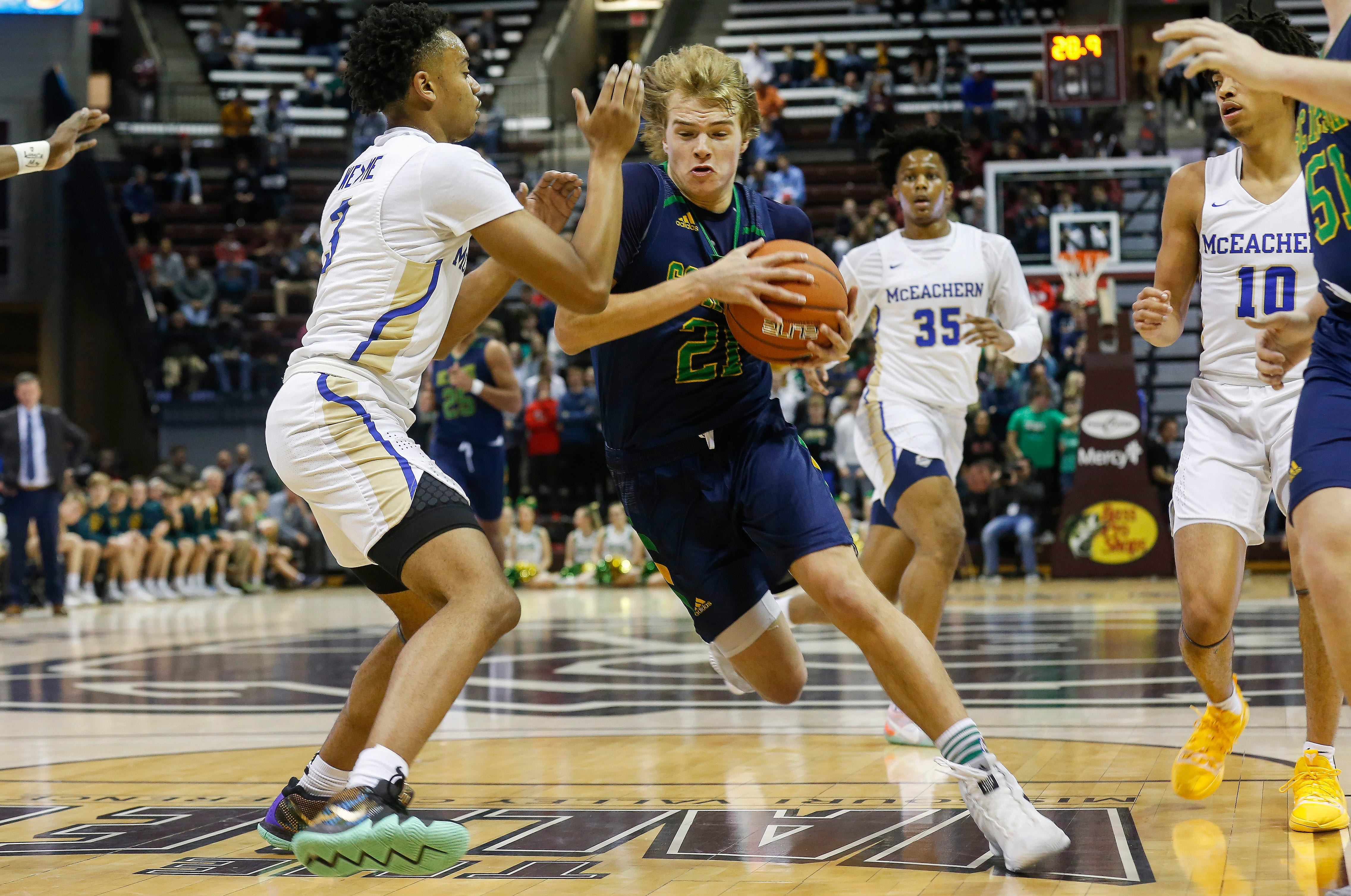 Charlie O'Reilly, of Springfield Catholic, drives to the net the Irish's  game against McEachern at the Bass Pro Shops Tournament of Champions at JQH Arena on Thursday, Jan. 17, 2019.