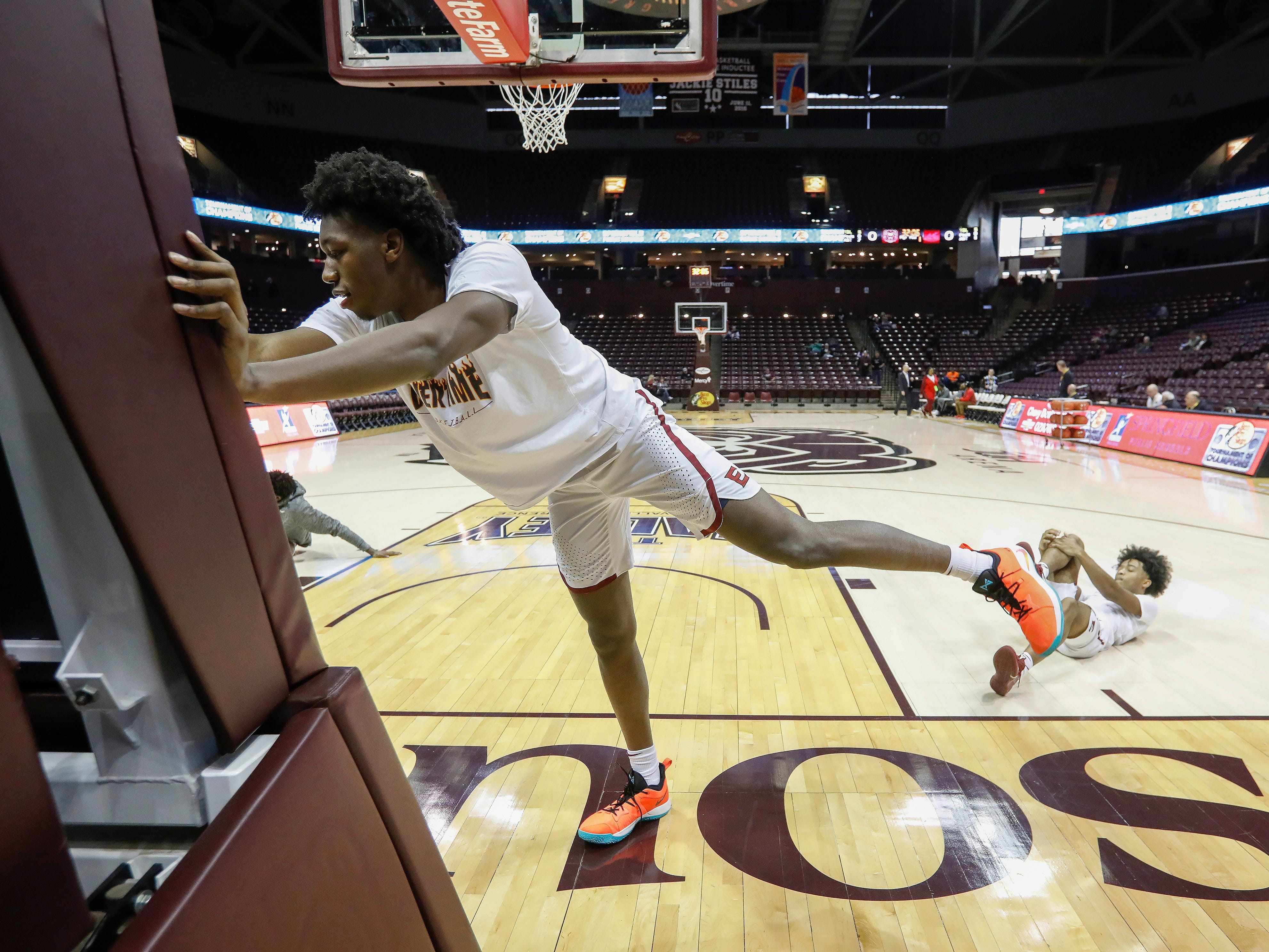James Wiseman, of Memphis East High School, warms up before his team's game in the Bass Pro Shops Tournament of Champions at JQH Arena on Thursday, Jan. 17, 2019.