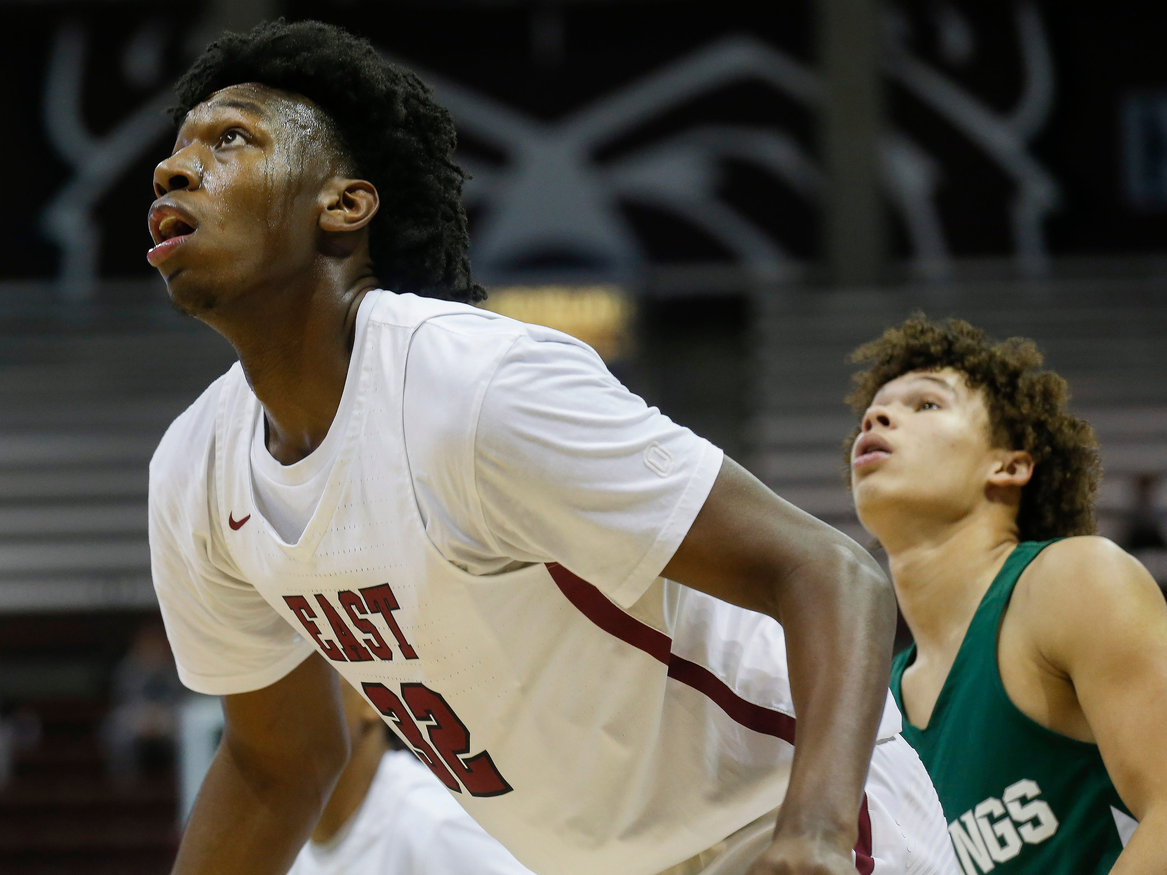 James Wiseman, of Memphis East High School, looks for a rebound during the Mustang's game against Parkview in the Bass Pro Shops Tournament of Champions at JQH Arena on Thursday, Jan. 17, 2019.