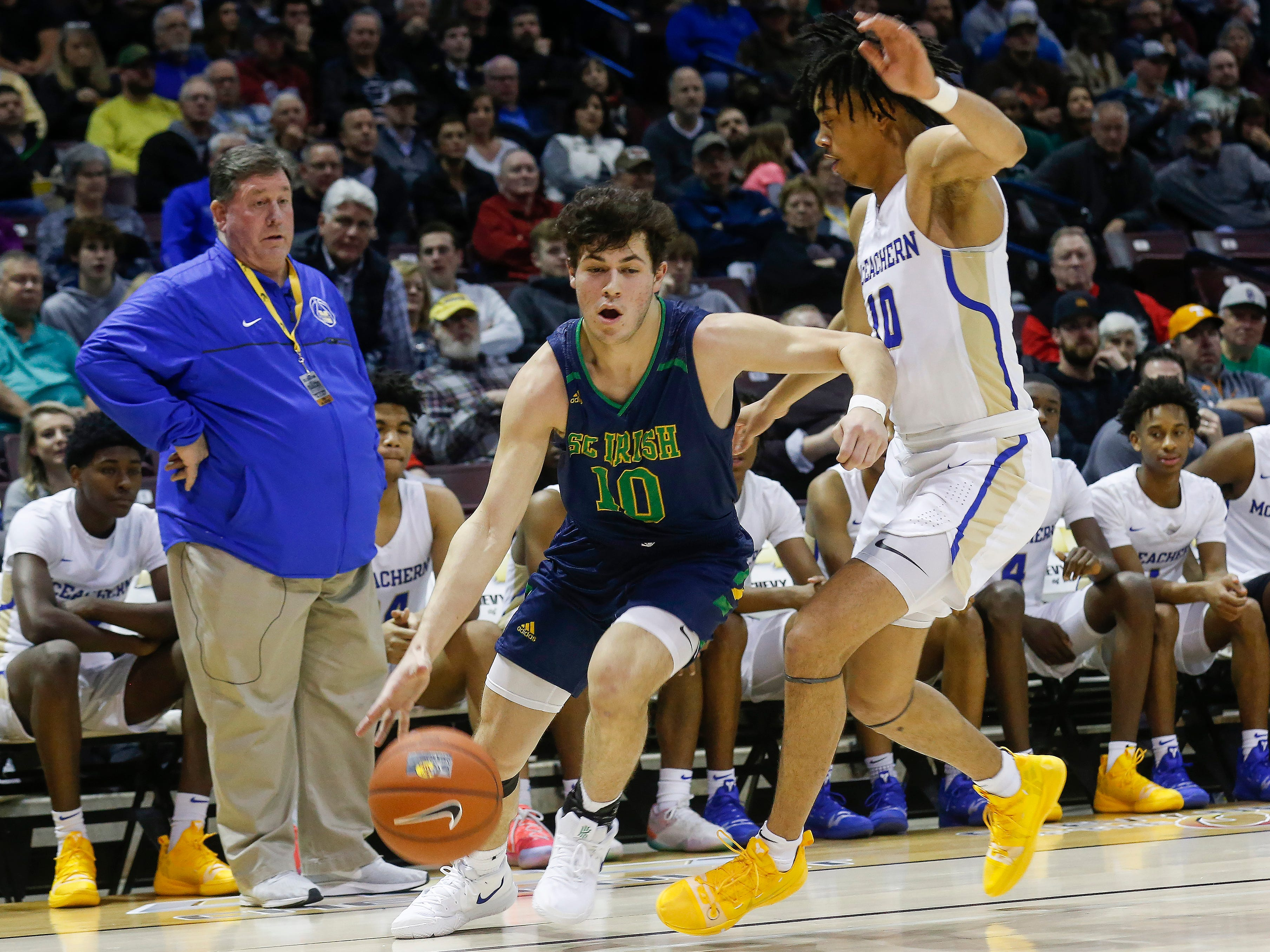 Mike Manzardo, of Springfield Catholic, drives to the net during the Irish's  game against McEachern at the Bass Pro Shops Tournament of Champions at JQH Arena on Thursday, Jan. 17, 2019.