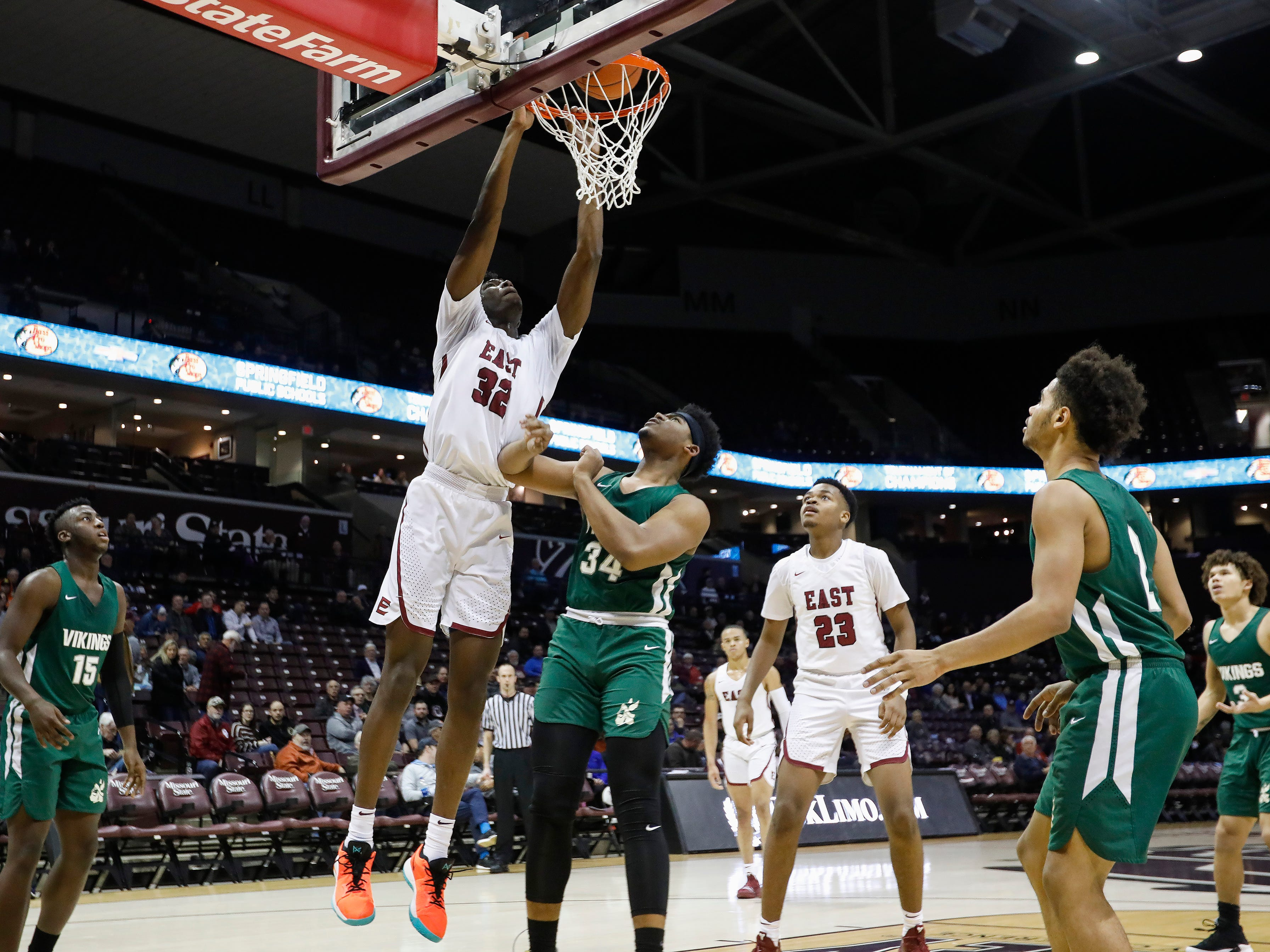 James Wiseman, of Memphis East High School, dunks the ball during the Mustang's game against Parkview in the Bass Pro Shops Tournament of Champions at JQH Arena on Thursday, Jan. 17, 2019.
