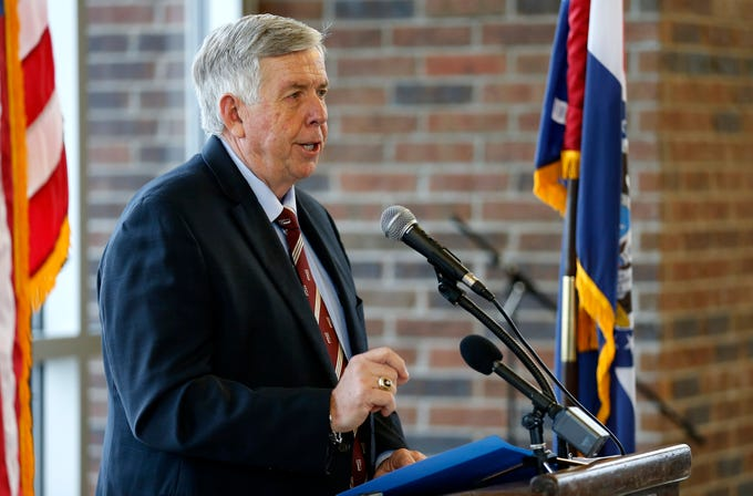 Gov. Mike Parson speaks at the Discovery Center on Friday, Jan. 18, 2019 to announce a grant of almost $474,000 from the Missouri Department of Economic Development to go toward STEM and opioid education.