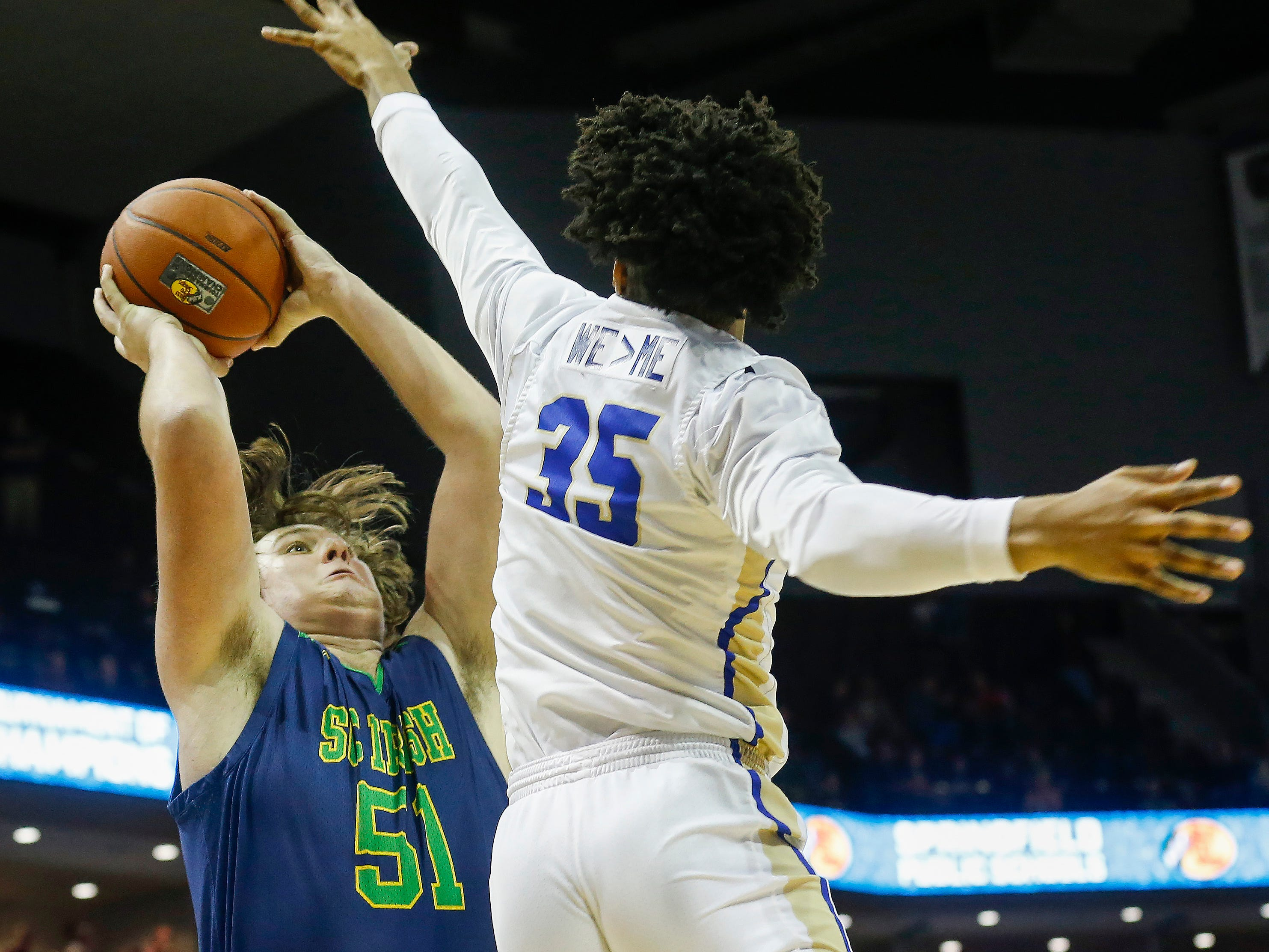 Wallace Squibb, of Springfield Catholic, shoots the ball during the Irish's  game against McEachern at the Bass Pro Shops Tournament of Champions at JQH Arena on Thursday, Jan. 17, 2019.