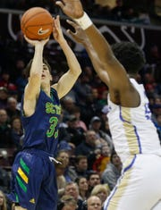 Ben Galligos, of Springfield Catholic, shoots the ball during the Irish's  game against McEachern at the Bass Pro Shops Tournament of Champions at JQH Arena on Thursday, Jan. 17, 2019.