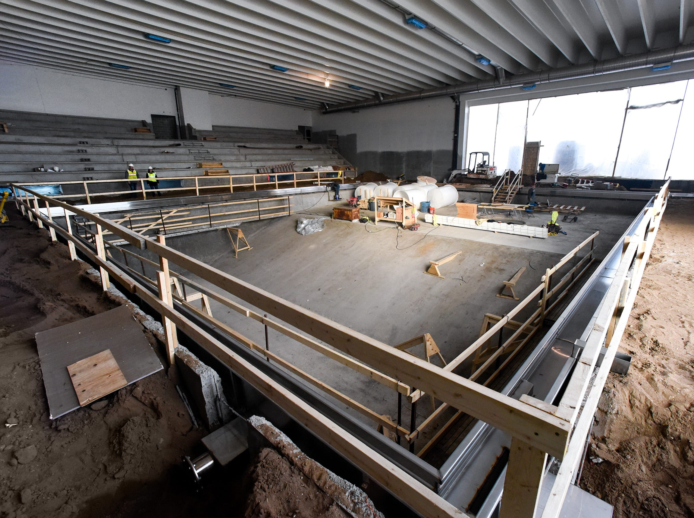 Construction of the pool and bleachers shown Thursday, Jan. 17, at the new Tech High School.