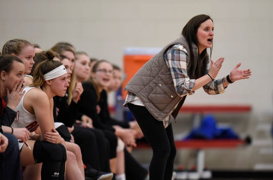 ROCORI head coach Valerie Fraley watches the action during the Thursday, Jan. 17, game at Apollo High School in St. Cloud.