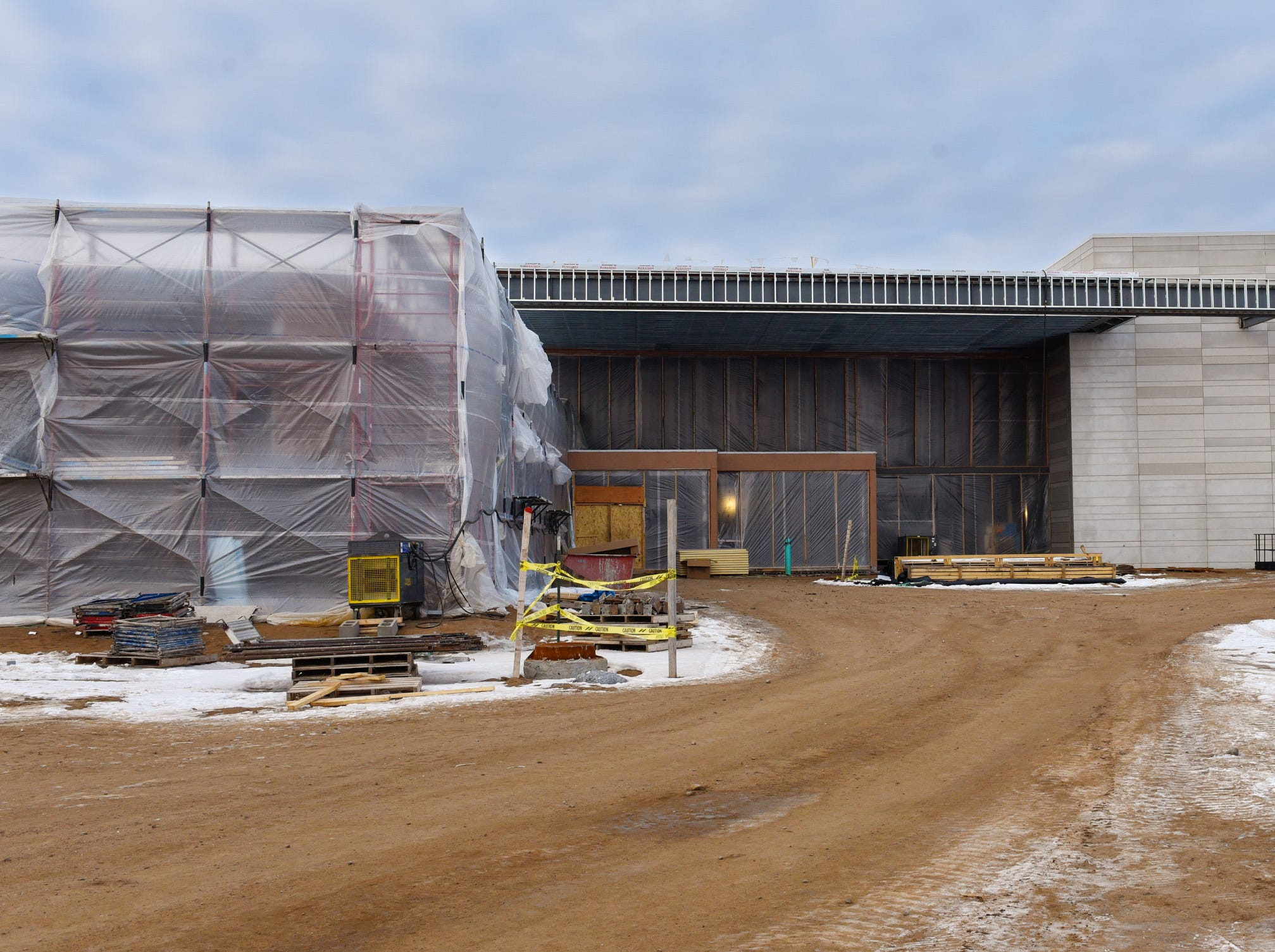 Construction of the main entrance shown Thursday, Jan. 17, at the new Tech High School.