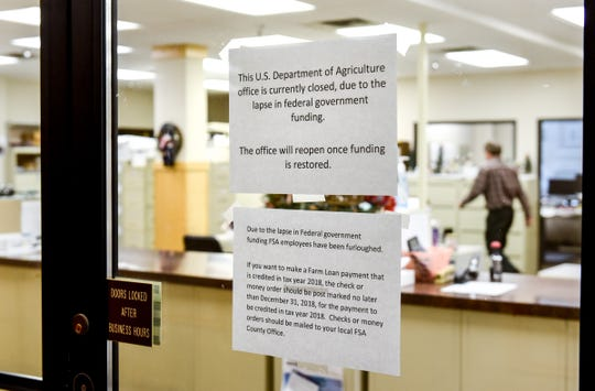 The USDA Service Center was open Thursday and Friday, and it was to be open Tuesday to help relieve some of the pressure on farmers with government-backed funds. The office, shown Friday, is located at 110 Second St S, Waite Park.