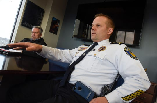 Assistant St. Cloud Police Chief Jeff Oxton talks about aspects of the Central Minnesota Human Trafficking Task Force during an interview Thursday, Jan. 17, at the Stearns County Attorney Office in St. Cloud.